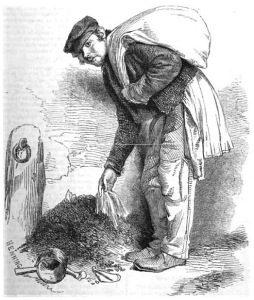 "The Bone-Grubber by Richard Beard. Henry Mayhew described one bone-grubber he encountered as wearing a ""ragged coat...greased over, probably with the fat of the bones he gathered"". Henry Mayhew - http://books.google.co. uk/booksid=iBIIAAAAQAAJ &printsec=frontcover&source=gbs_ge_ summary_r&cad =0#v=onepage& q&f=false The Bone-Grubber, daguerreotype by Beard - created 31 December 1850 - Public Domain"
