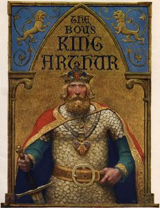 Title page (N.C. Wyeth) for The Boy's King Arthur: Sir Thomas Malory's History of King Arthur and His Knights of the Round Table, Edited for Boys by Sidney Lanier (1922). - Public Domain - https://en.wikipedia.org/ wiki/Le_Morte_d%27Arthur#/media/File:Boys_King_ Arthur_-_N._C._Wyeth_-title_page.jpg