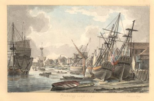 robert-cleverly-1791-ratcliff-Cross-from-the-river-bank-boats-beached-on-the-sand-to-the-right-a-few-boats-on-the-water-to-the-left-e1483895400665.jpg