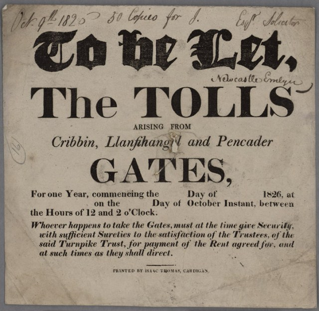 To_Be_Let_The_Tolls_Cribbin,_Llanfihangel_and_Pencader_Gates_1826